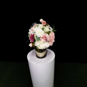 gold vase with pink posie