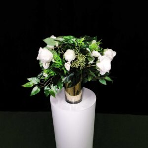 White Green-Flowers with gold vase