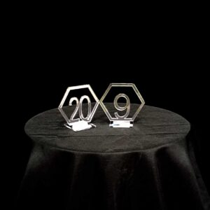 silver hexagon table numbers