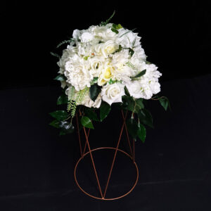 white flowers on stand for table