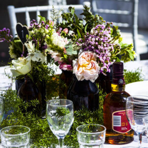 outdoor table styled with flowers